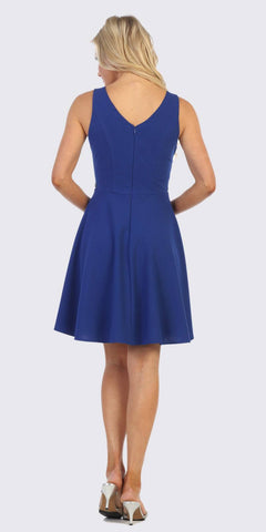 V-Neck and Back Royal Blue Short Cocktail Dress