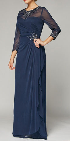 Juliet 638 Long Sleeve Formal Dress Embellished Illusion Neckline Navy Blue