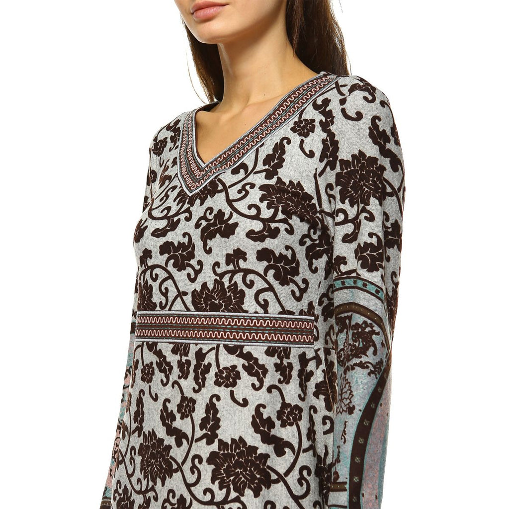 Naarah Embroidered Sweater Brown Dress Knee Length Long Sleeve