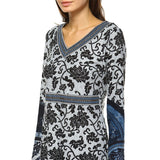 Naarah Embroidered Sweater Blue Dress Knee Length Long Sleeve