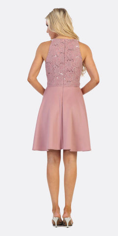 Celavie 6382 Mauve Lace Top Knee-Length Cocktail Dress