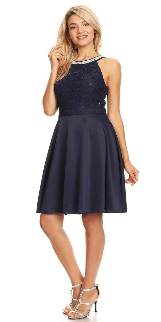 Celavie 6382 Navy Blue Lace Top Knee-Length Cocktail Dress