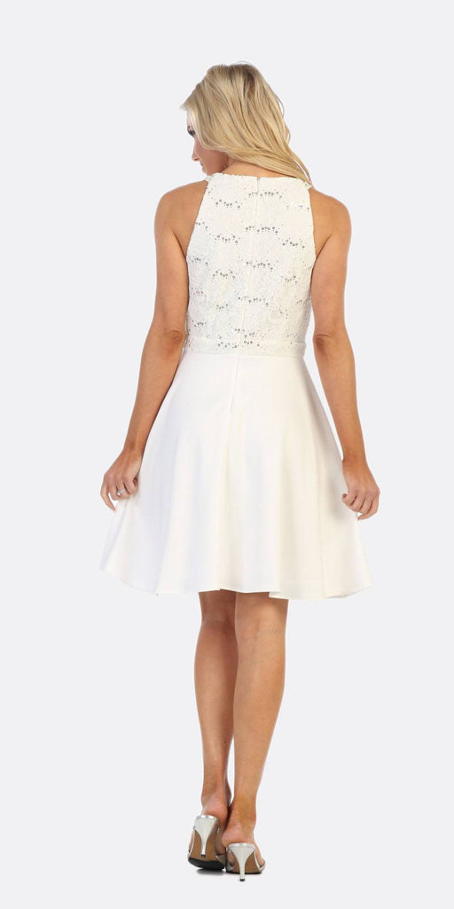 Celavie 6382 Off White Lace Top Knee-Length Cocktail Dress