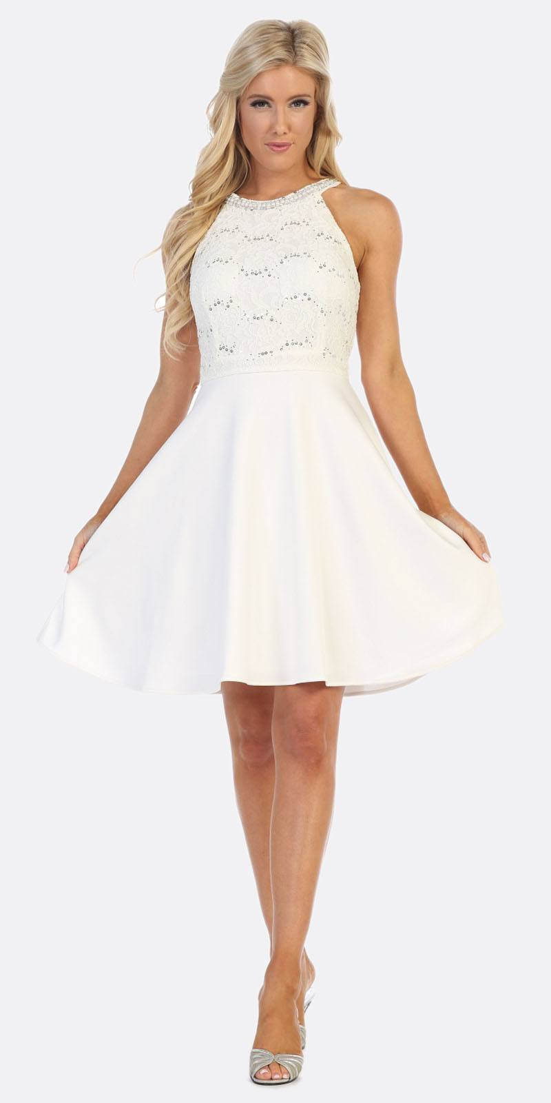 4aac5eb7796 White Lace Dress With Sleeves Knee Length