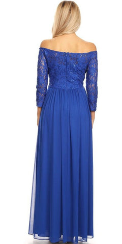 Off-Shoulder Royal Blue Long Formal Dress Embellished Waist