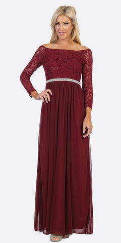 Celavie 6386L Off-Shoulder Burgundy Long Formal Dress Embellished Waist