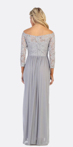Celavie 6386L Off-Shoulder Silver Long Formal Dress Embellished Waist