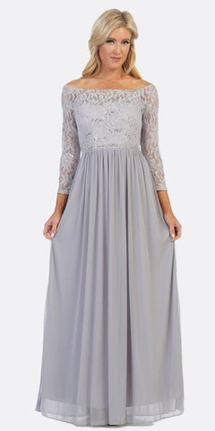 Off-Shoulder Long Sleeved Lace Formal Dress Baby Blue