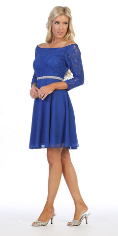 Quarter Sleeved Wedding Guest Short Dress Royal Blue