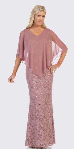 V-Neck Long Formal Poncho Dress Mauve