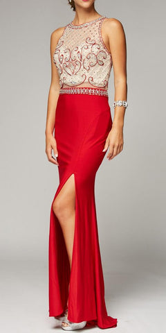 Sexy Sheath Fit and Flare Floor Length Formal Gown Red With Slit