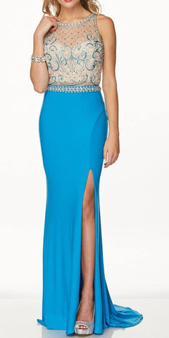 Sexy Sheath Fit and Flare Floor Length Formal Gown Turquoise With Slit
