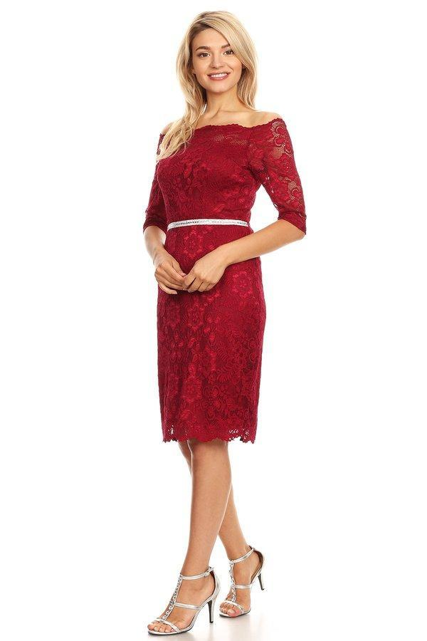Burgundy Short Wedding Guest Dress Off-Shoulder