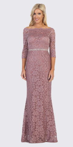 Off-Shoulder Long Formal Dress Beaded Waist Mauve