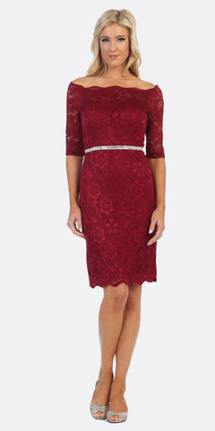 Celavie 6390 Burgundy Short Wedding Guest Dress Off-Shoulder