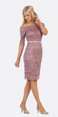 Off-Shoulder Long Sleeved Lace Formal Dress Burgundy