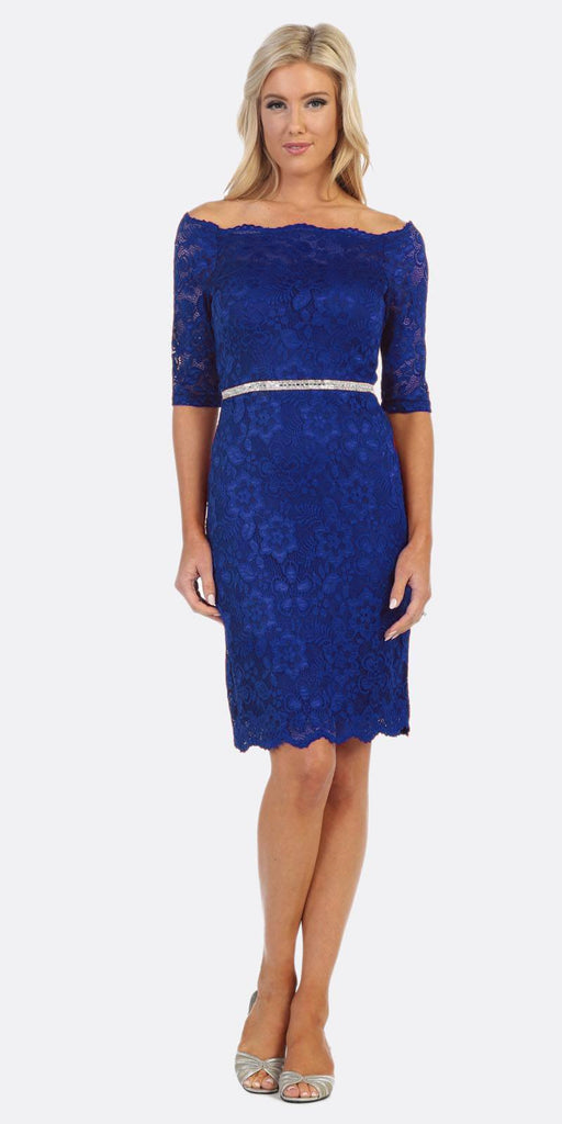Celavie 6390 Royal Blue Short Wedding Guest Dress Off-Shoulder