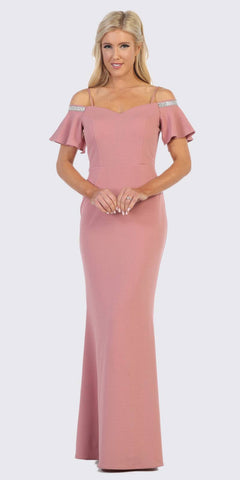 Mauve Long Formal Dress with Embellished Cold-Shoulder