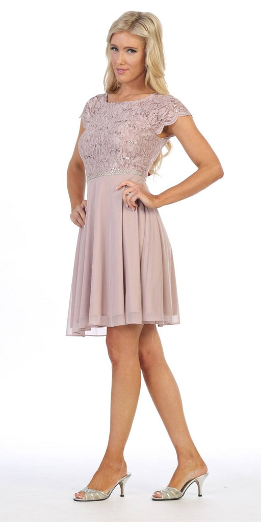 Celavie 6394 Embellished Waist Short Wedding Guest Dress Mocha