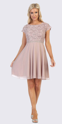 Embellished Waist Short Wedding Guest Dress Mocha
