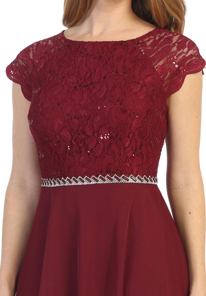 Celavie 6394 Embellished Waist Short Wedding Guest Dress Burgundy