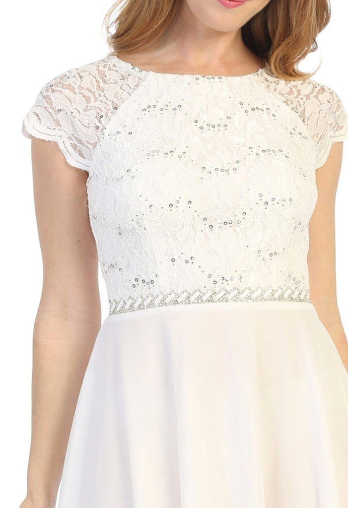 Celavie 6394 Embellished Waist Short Wedding Guest Dress Off White