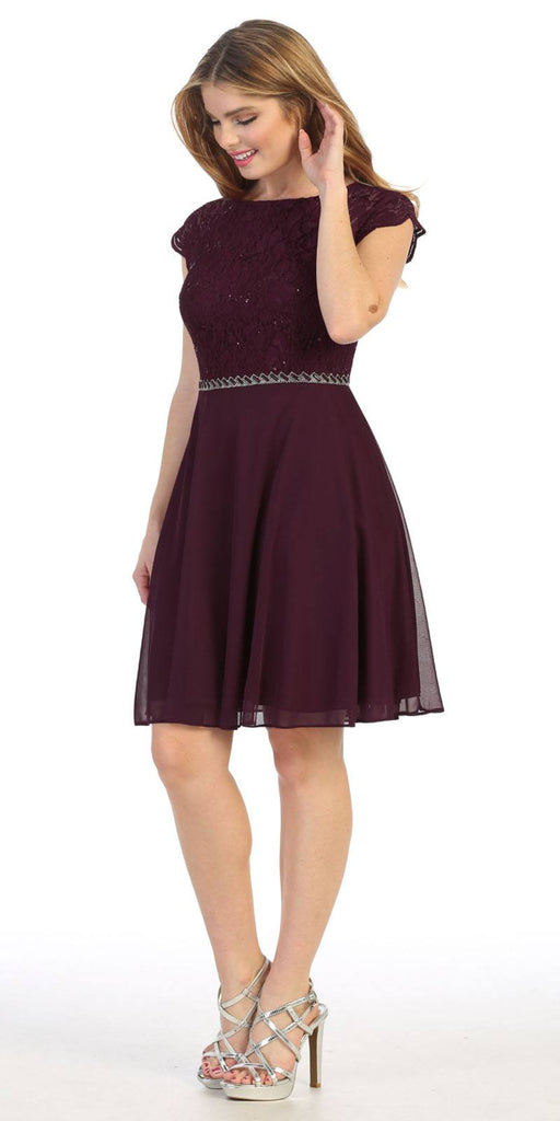Celavie 6394 Embellished Waist Short Wedding Guest Dress Plum