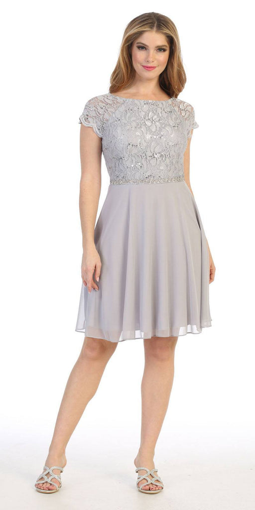Celavie 6394 Embellished Waist Short Wedding Guest Dress Silver