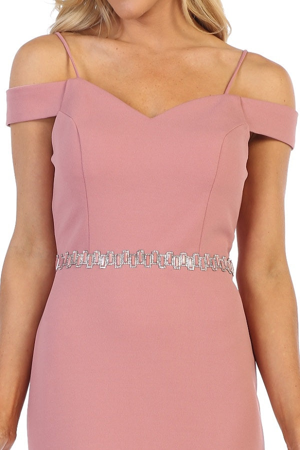 Cold-Shoulder A-Line Short Wedding Guest Dress Mauve