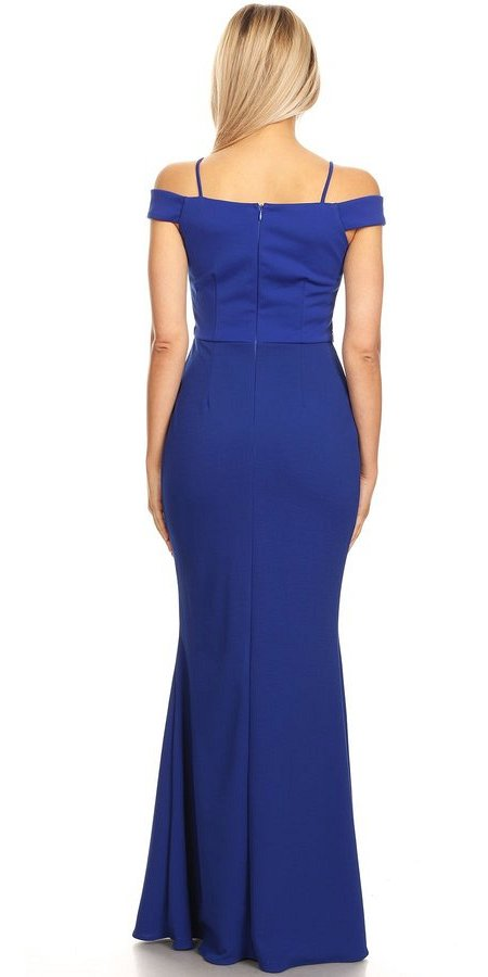 Cold-Shoulder Beaded Waist Long Formal Dress Royal Blue