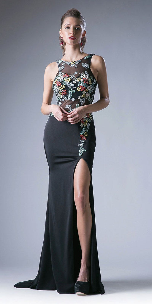 Black Embroidered Floor Length Prom Dress with Slit