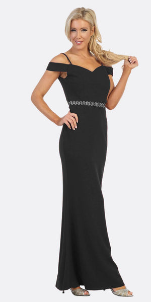 Celavie 6395 Cold-Shoulder Beaded Waist Long Formal Dress Black