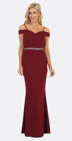 Celavie 6395 Cold-Shoulder Beaded Waist Long Formal Dress Burgundy
