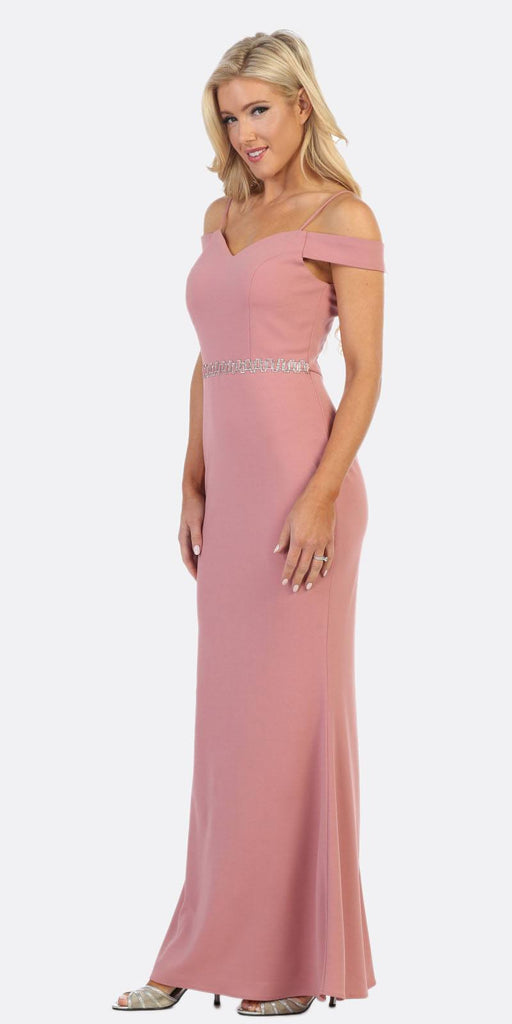 Celavie 6395 Cold-Shoulder Beaded Waist Long Formal Dress Mauve