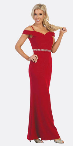 Celavie 6395 Cold-Shoulder Beaded Waist Long Formal Dress Red