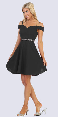 Celavie 6395 Knee Length Cold Shoulder Black A-Line Dress