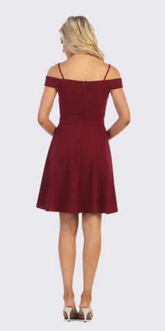Cold-Shoulder A-Line Short Wedding Guest Dress Burgundy