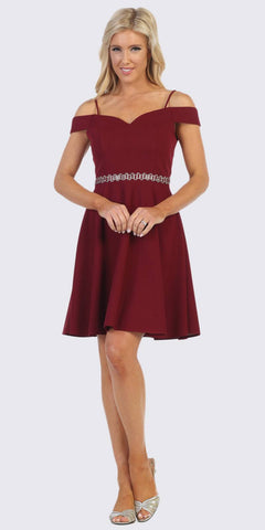 Celavie 6395 Knee Length Cold Shoulder Burgundy A-Line Dress