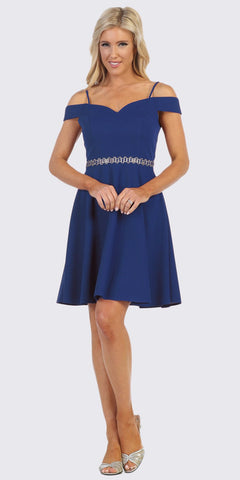 Celavie 6395 Knee Length Cold Shoulder Royal Blue A-Line Dress