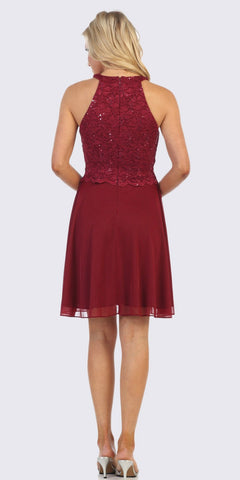 Halter Short A-Line Cocktail Dress Burgundy
