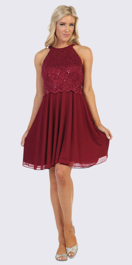 Celavie 6398 Halter Short A-Line Cocktail Dress Burgundy