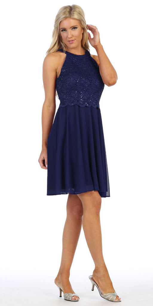 Celavie 6398 Halter Short A-Line Cocktail Dress Navy Blue