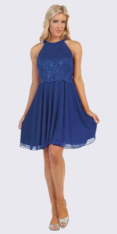 Halter Short A-Line Cocktail Dress Royal Blue