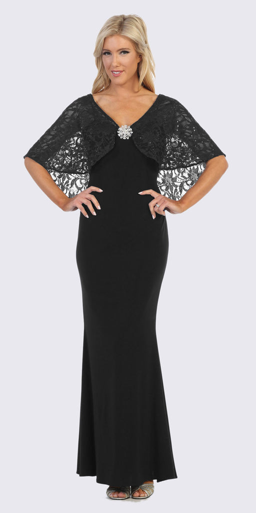 Black Long Formal Dress with Lace Poncho