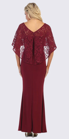 Burgundy Long Formal Dress with Lace Poncho