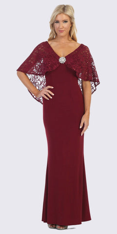 CLEARANCE - Knee Length Burgundy Dress With Short Sleeves Lace Bodice (Size 3XL)