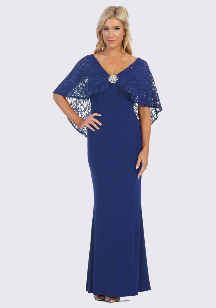 Royal Blue Long Formal Dress with Lace Poncho