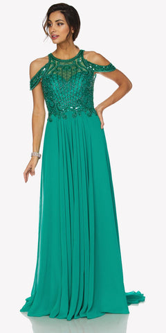 Cold Shoulder Floor Length Evening Gown Embellished Bodice Green