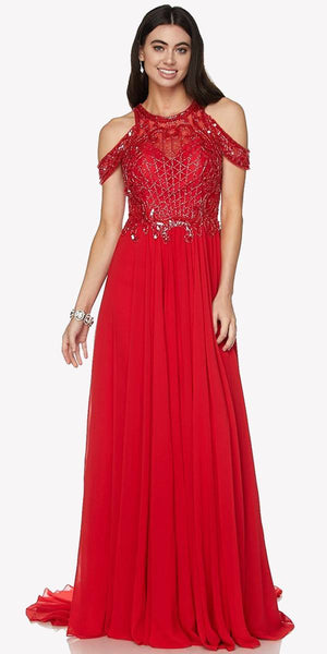 Cold Shoulder Floor Length Evening Gown Embellished Bodice Red