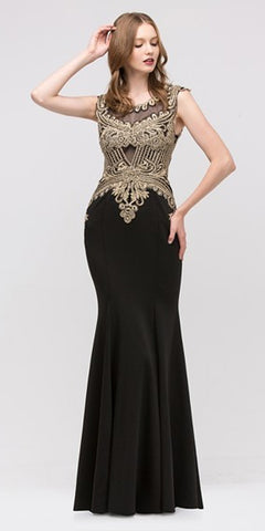 Boat Neck Embroidered Mermaid-Style Evening Gown Sleeveless Black